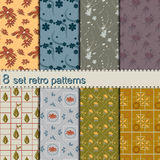 8 set retro flower patterns Royalty Free Stock Photography