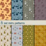 8 set retro flower patterns Royalty Free Stock Photography
