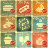 Set of Retro Food Labels Stock Photo