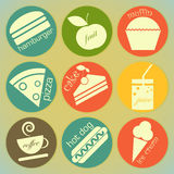 Set of retro food round labels Royalty Free Stock Photos