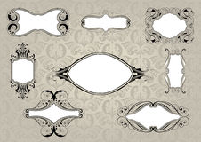 Set of retro frame with background pattern Stock Photography