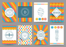 Set of Retro Frames. Set of Retro Insignias and Logotypes, brochures in vintage style. Vector Royalty Free Stock Photo