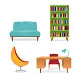 Set of retro furniture pieces. Vector illustration, a collection of 70s style furniture. Bookcase full of books, couch, writing desk and armchair. Isolated on Royalty Free Stock Image