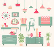 Set of retro furniture Royalty Free Stock Photos