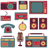 Set of retro gadgets. Set of old fashioned gadget flat icons Royalty Free Stock Photography