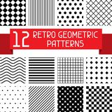 Set of 12 retro geometric patterns.  Stock Photo