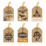 Set of Retro Halloween Gift Tags Cardboard Texture Stock Images