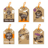Set of Retro Halloween Gift Tags Royalty Free Stock Image