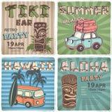 Set of Retro Hawaiian banners Stock Photo