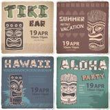 Set of Retro Hawaiian banners Stock Photos