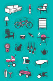 Set of Retro Home Icons. Set of retro  icons of common household items including furniture and fixtures. Fully scalable and Stock Photo