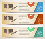 Set of retro horizontal banners stock illustration