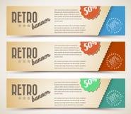 Set Retro- horizontale Fahnen Lizenzfreies Stockfoto