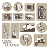 Set of retro icons. stock illustration