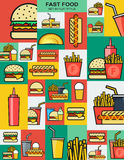 Set of retro icons with fast food burgers. Hamburger Royalty Free Stock Images