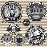 Set  retro icons to topic beer. Set vector retro icons to topic beer Stock Photo