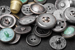 Set of retro iron buttons stock images