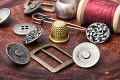 Set of retro iron buttons royalty free stock photos
