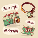 Set of retro items. Camera, headphones, audio Royalty Free Stock Photography