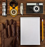 Set of retro items for tourists Royalty Free Stock Photo
