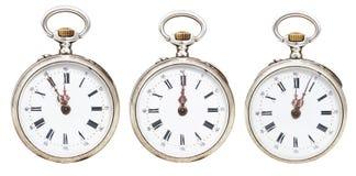 Set retro kieszeniowi zegarki z midnight czasem Fotografia Royalty Free