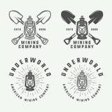 Set retro kopalnictwa lub budowy logowie, odznaki, emblematy ilustracja wektor