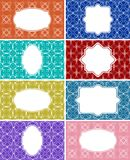 Set of retro label, empty frames on patterned background, vintage packaging template for etiquette Royalty Free Stock Photo