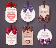 Set Retro Labels with Bows Royalty Free Stock Images