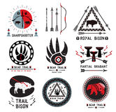 Set of retro labels hunting. Ethnic weapon logo design elements. Outdoor camp Logo Royalty Free Stock Images