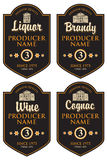 Set of retro labels for various alcohol beverages Stock Image