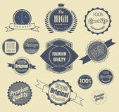 Set of retro labels. Vector illustration. Stock Images