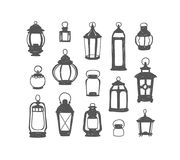 Set of 15 retro lanterns. Doodle illustration. Set of 15 vector retro lanterns. Black on white doodle illustration Royalty Free Illustration
