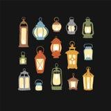 Set of 15 retro lanterns. Set of 15 vector retro lanterns. Colorful doodle illustration Vector Illustration