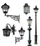 Set retro latarnie uliczne, odizolowywający z ścinek ścieżkami Zdjęcie Stock