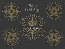 Set of retro light rays background for vintage logo. Banner design. Vintage sunbeam collection Stock Images