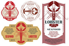 Set of retro lobster label and tags Stock Photo