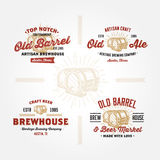Set of retro logo designs with wodden barrels. Set of vintage badge, label, logo template designs with wodden barrels for beer house, bar, pub, brewing company Royalty Free Stock Photography