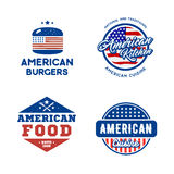 Set of retro logos american cuisine concept. Stock Image