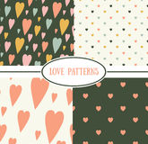 Set of retro love patterns. Seamless vector background Royalty Free Stock Photography