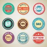 Set retro majchery & x28; etykietki, stamps& x29; dla sprzedaży Fotografia Stock