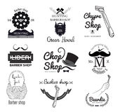 Set of retro men's barber shop logo and design element Royalty Free Stock Photos