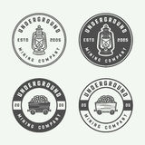 Set of retro mining or construction logo badges and labels. In vintage style. Monochrome Graphic Art. Vector Illustration Stock Image