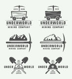 Set of retro mining or construction logo badges and labels Royalty Free Stock Image