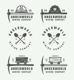 Set of retro mining or construction logos, badges, emblems. And labels in vintage style. Monochrome Graphic Art. Vector Illustration Stock Photography