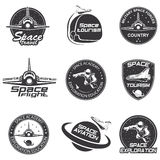 Set of retro and modern space travel badges. And labels stock illustration