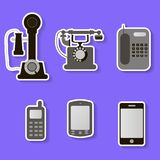 Set of retro and modern telephones Stock Photo
