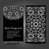 Set retro monochrome business card. Vector background. Card or invitation. Vintage decorative elements. Hand drawn Royalty Free Stock Image
