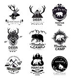 Set retro mountain camp and the journey logo, emblem, label. Design elements an outdoor camp for travelers: bear, deer, mountain climbing gear, hiking stock illustration