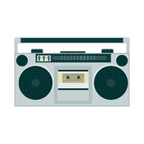 Set of retro music gadgets from 21-st century. Boombox, retro music gadget of 90s. Old musical device vector illustration. Tape stereo system, audio cassette Stock Illustration