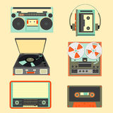 Set of retro music gadgets from 21-st century. Old musical devic. Es vector illustration. Tape stereo system, audio cassette, reel-to-reel recorder, walkman Stock Illustration